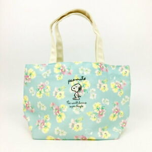 Japan Peanuts Snoopy Watercolor Floral Canvas Lunch Hand Bag Tote Embroidered