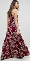 Free People Garden Party Maxi Dress Tiered Floral Ruffle Maroon Boho OB580623
