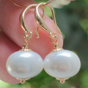 Natural Pearl gold Earrings eardrop 18KGP Chain girl Gift VALENTINE'S DAY Lucky