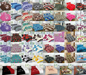 Printed Duvet Cover Quilt Set With Pillow cases King Size Single Double Super