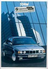 BMW 524td Prospekt 1/90 brochure Auto PKWs Deutschland Europa