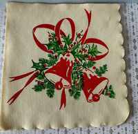 """1 Vintage 1920's Green Red Christmas Bells Crepe Paper Napkin 9x9"""" in NOS"""