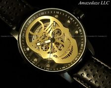 Invicta Men 48mm S1 Rally Skull Mechanical Skeletonized Dial Leather Strap Watch