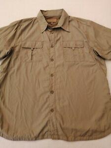 """Men's Mountain Life trek travel shirt XL chest 48"""" short sleeves 100% nylon embr"""