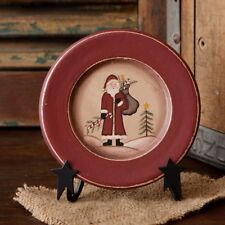 Country Primitive Wooden Mini Santa Claus Plate