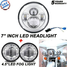 """75W 7"""" LED Projector Headlight + Passing Lights Fit for Harley Touring Chrome"""