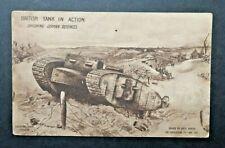 More details for vintage british tank in action 1916 postcard smashing german defences