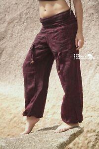 Warm Harem Hippie Pants Red Yoga Festival Loose Boho Gypsy Comfy Winter Soft