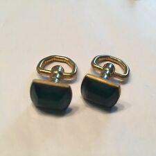 Facet Cut Crystals Gold Tone Signed Vtg Door Knocker Cuff Links Higcok Green