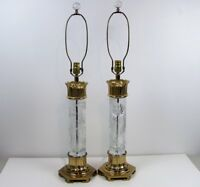 8776: Pair of Dresden Crystal & Gold Table Lamps Hollywood Regency