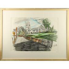 More details for original signed framed modernist landscape pastel brent knoll church somerset