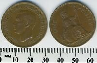 GREAT BRITAIN 1940 - 1 Penny Large Bronze Coin - King George VI - WWII Mintage