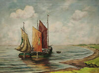 Signiert F Söllner - Segelboote Hamburg - datiert 47
