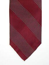 Polo Ralph Lauren Stunning Shinny Burgundy White Dot Striped Silk Neck Tie