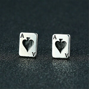 1 Pair Titanium Steel Playing Card Ear Stud Pocker with Butterfly Back Earring