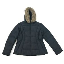 Jones New York Quilted Jacket Down Feather Coat Size Medium Faux Fur Hooded $225