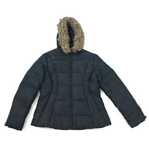 Jones New York Quilted Jacket Down Feather Coat Size Medium Faux Fur Hooded