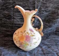 """Wonderful Art Noveau RW Rudolstadt H/P Floral Design Bulbous Pitcher, 9"""""""