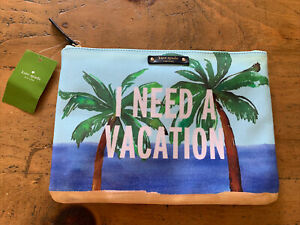 "NWT Kate Spade I Need a Vacation Clutch Bag Pouch 10""x7"" Palm Trees Beach"