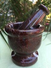 """3"""" Mortar And Pestle Red Zebra Marble Spice Herb Pepper Grinder Mortar & Pestle."""