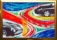 PORSCHE + Aston Martin db5 pezzo unico collage 100 x 70cm auto-ciclo max stella * 1968