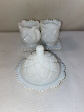 Vtg Westmoreland Quilt Pattern Child's Set Milk Glass Sugar Butter Dish Tray