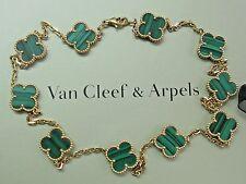 "Van Cleef & Arpels 18Kt 10 Motif Vintage Alhambra Malachite Necklace 16.5"""