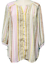 Investments V-Neck Striped  Pullover Blouse Sz Large Pastel Pink Green