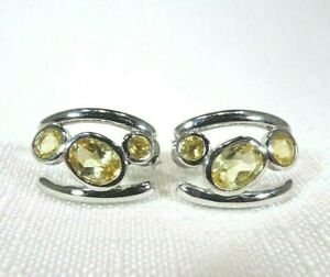 2.20 ct Natural Citrine Sterling Silver Modern Style Post Earrings