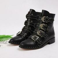 Women Rivets Studded Pointy Toe Cuban Heel Leather Buckle Ankle Boots   LHM15
