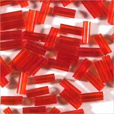 Perles de Rocailles Tubes en verre Transparent 4x2mm Rouge 20g