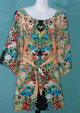 Wish Women's Dress Small Orange Sherbet Floral Print Belted w/ Kimono Sleeves