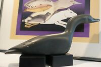 "Inuit Art - Impressive 11"" Canadian Goose Carving by Isaac Amitook, Sanikiluaq"