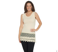 Kathleen Kirkwood Layering Tank Embroidered Lace Extender White L NEW A286639