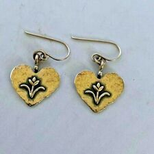 Israel Didae Sterling Silver Dangle Heart Floral Earrings Signed Hammered 925
