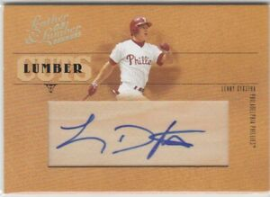 LENNY DYKSTRA /128 CUT AUTO PHILLIES 2005 DONRUSS LEATHER LUMBER CUTS AUTOGRAPH