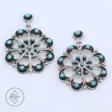 Vintage Sterling Silver | ZUNI Snake Eye Turquoise Flower | Post Earrings