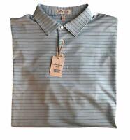 Peter Millar Crown Sport Summer Comfort 2XL Short Sleeve Blue Striped Golf Polo