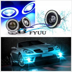 "1 Pair Car 3.5"" Round COB LED Angel Eyes Halo Ring Projector Fog Lamp + Bracket"