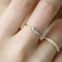 14k gold plated 9 tiny diamond pieces exquisite wedding engagement ring Sz 6-10