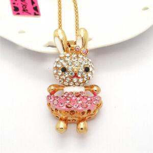 Hot Betsey Johnson Pink Enamel Cute Bunny Dress Crystal Pendant Chain Necklace