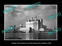 OLD LARGE HISTORIC PHOTO OF ELRAMA PENNSYLVANIA, VIEW OF THE POWER STATION c1950