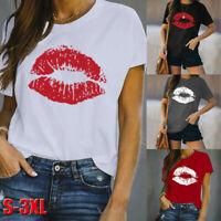 Plus Size Women Lips Print Short Sleeve T Shirt Ladies Casual Summer Blouse Tops