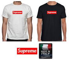 T-shirt Nera Logo Supreme Maglietta Uomo Donna Maglia Cotone Manica Corta