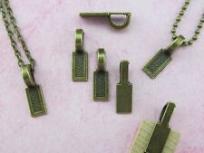 "25 Tag Bails - Antique Bronze Color - 25x8mm - Large Glue On Bails 1"" x 5/16"""