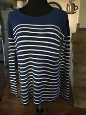 NWT Gap Maternity M Sweater Blue White Stripped NEW Wool Nylon Xtra Soft Comfy