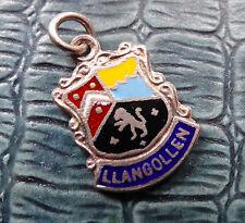 vintage 1961 h/m SILVER enamel llangollen Welsh tourist charm for bracelet -C88