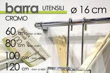 BARRA PORTA UTENSILI IN ACCIAIO CROMO CUCINA CASA  ⌀16*120 CM KAM-614835