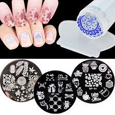 3 Design Set Nail Art Polish Manicure Image Stamping Template Plate Scraper DIY