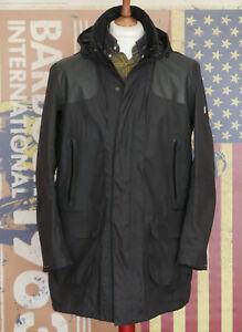 Mens Barbour Land Rover long smart black hooded waterproof rain jacket Large M